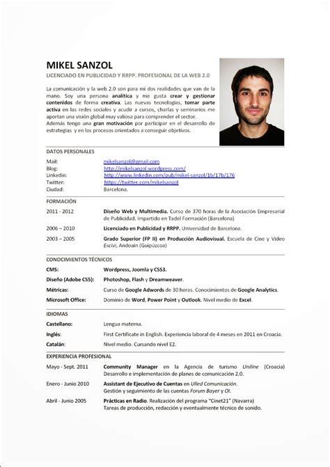 Modelo De Un Curriculum Vitae Chile Ejemplos De Curriculum Vitae