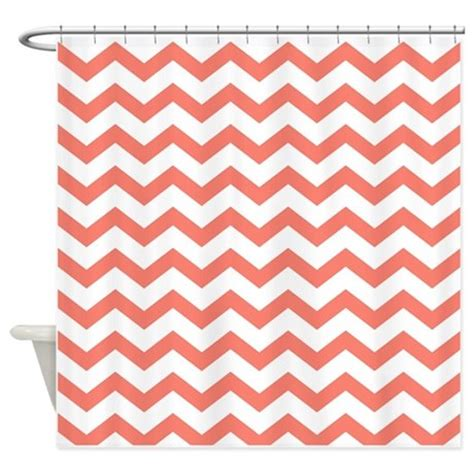 Coral Chevron Curtains Coral Chevron Stripes Shower Curtain By Chevroncitypart2