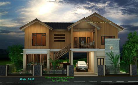 desain rumah villa kayu panggung tropis jasa desain rumah