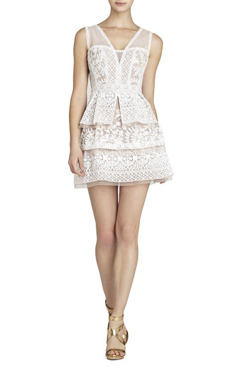 bcbgmaxazria fola v neck lace tiered dress in white lyst