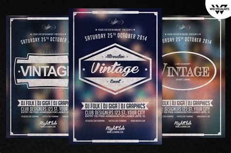 vintage retro flyer template vol 1 by wgvisualarts on