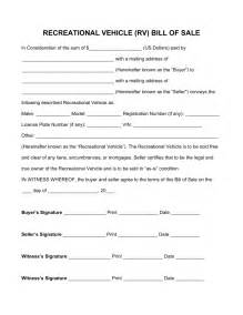 free recreational vehicle rv bill of sale form pdf