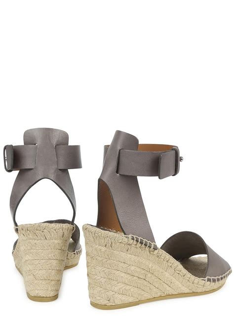 vince simona grey espadrille wedge sandals in gray lyst