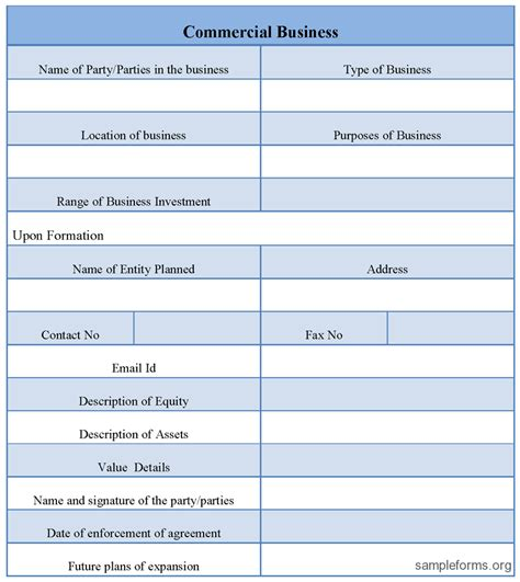 commercial business form sle forms