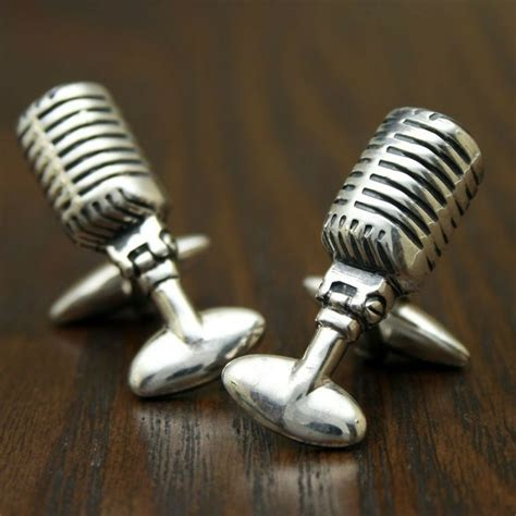 Handmade Microphone - retro 50s radio microphone cufflinks sterling silver