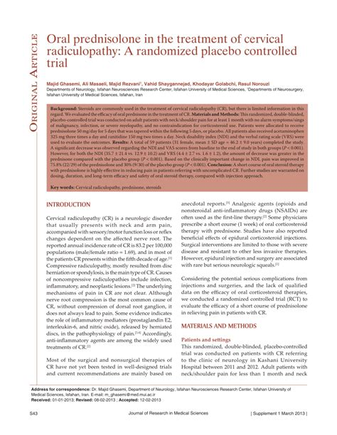 a placebo controlled trial of oral fingolimod in relapsing oral prednisolone in the treatment of cervical