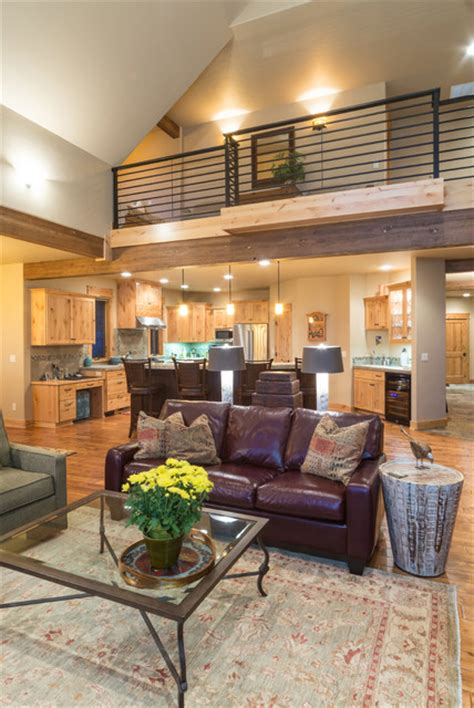 Brasada Ranch Home Design 2 Story with Open Loft Rustic Living Room other metro by