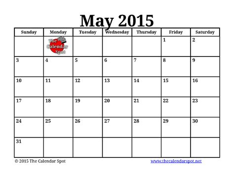 Blank May 2015 Calendar Printable Calendar Monthly 2015 2017 Printable Calendar