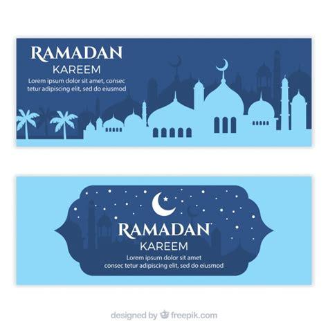 design banner ramadan ramadan kareem banners with mosque silhouette vector