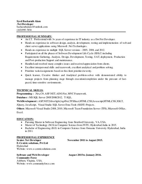 Sle Resume For Dot Net Developer Experience 2 Years experience resume of dot net developer 28 images dot