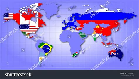 world map with countries flag map world showing g20 member countries stock illustration