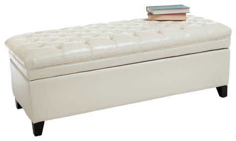 White Leather Storage Ottoman Bench Barton Leather Storage Ottoman Bench Ivory Contemporary Footstools And Ottomans By Great