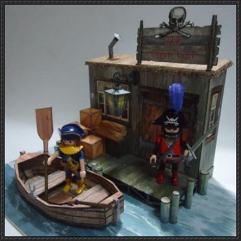 Papercraft Pirate Ship - the pirate cove diorama free papercraft
