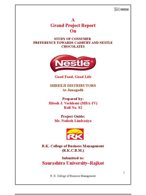 Nestle Project Report Mba by The Nestle Research Project 2272 Chocolate Foods