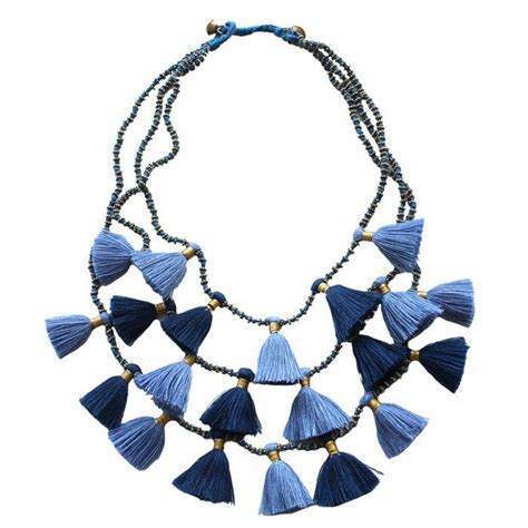 Kalung Fashion Necklace Tassel Symmetric Rbdceb denim tassel necklace trend a passel of tassels tassels products and necklaces