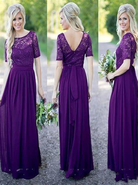purple lace bridesmaid dress  sleeve bridesmaid dress