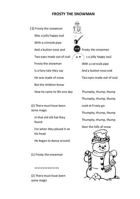 printable lyrics for frosty the snowman frosty the snowman lyrics