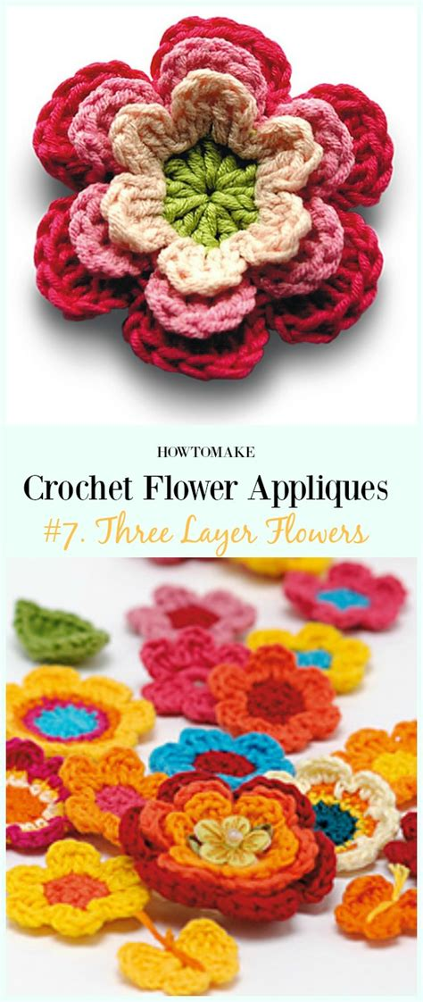 easy crochet flower appliques  patterns  beginners