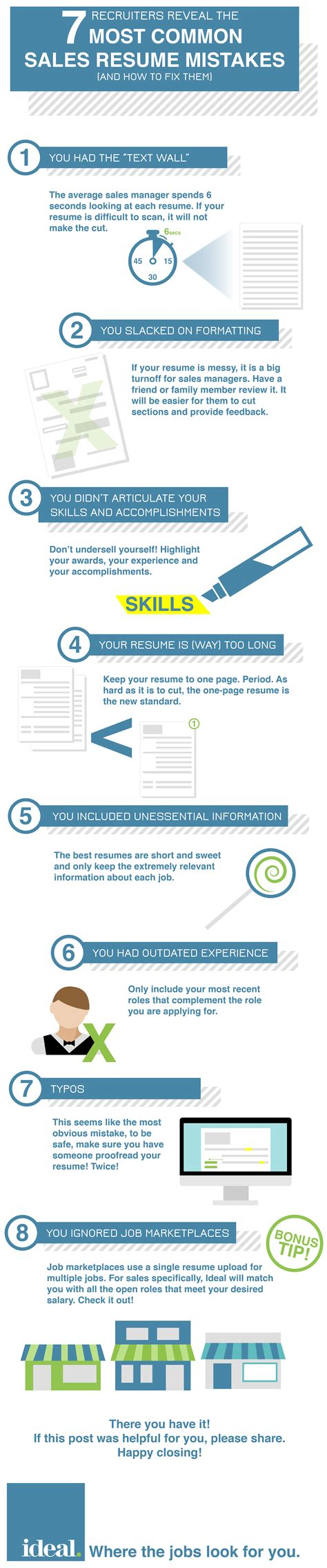 7 Resume Mistakes by Recruiters Reveal The 7 Most Common Sales Resume Mistakes