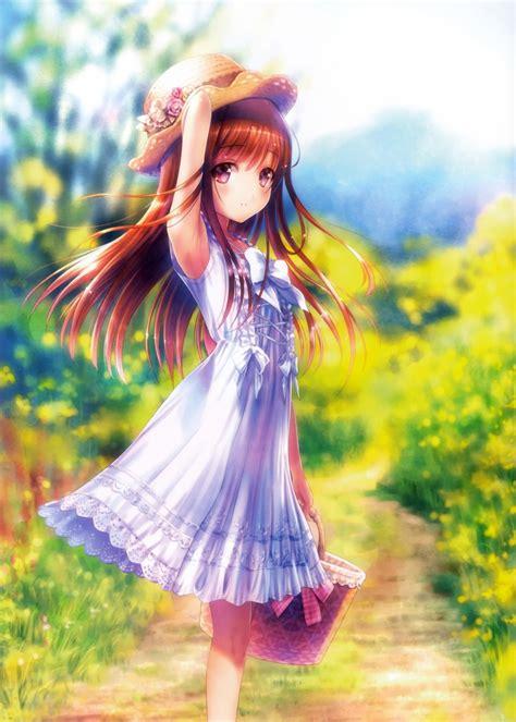 cute anime girl summer wallpaper wallpaper anime girl yellow flowers white dress summer