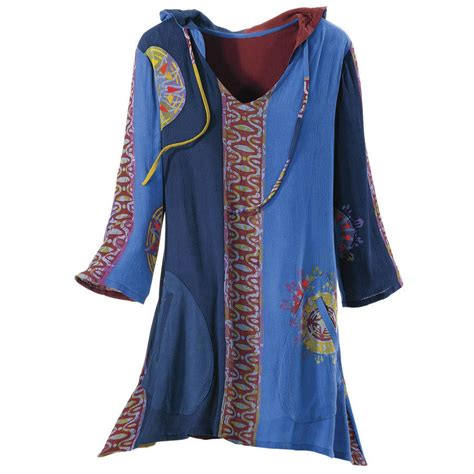 Pyramid Tunic Dress mystic blue hooded tunic women s from the pyramid collection