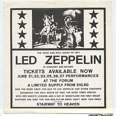 Led Zeppelin Usa Tour 1977 the forum june 23 1977 inglewood led zeppelin official website