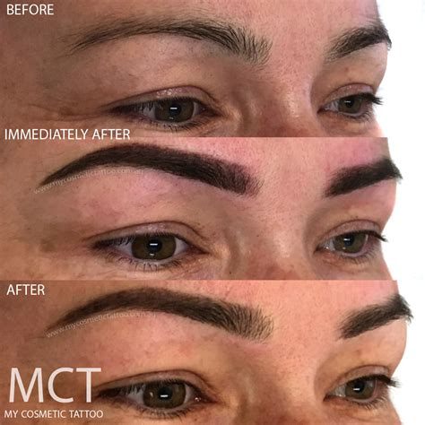 eyebrow tattoo before and after eyebrow feathering my cosmetic