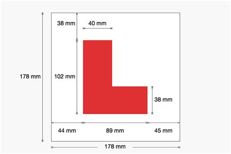 l plate sizes gov uk