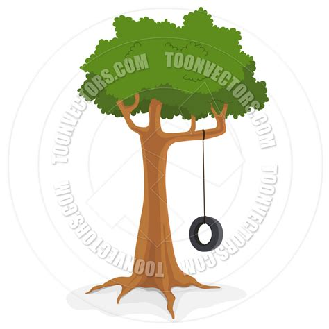 cartoon tire swing tree with tire swing by benchart toon vectors eps 13831