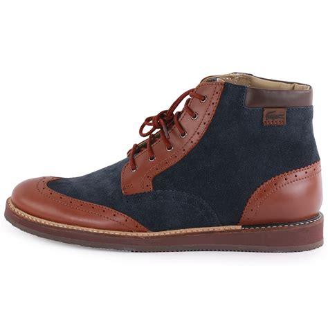 lacoste millard hi mens leather suede navy brown ankle
