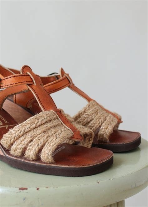 Wedges Vintage Leather vintage 1970s jute and leather wedge sandals raleigh vintage