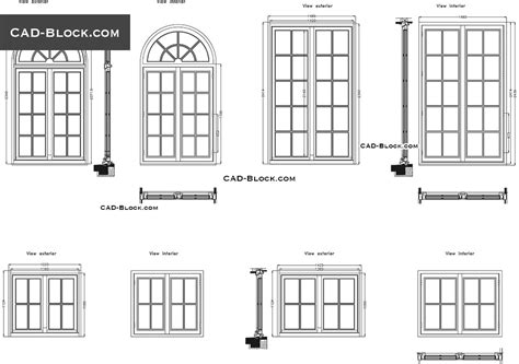 window in plan windows cad block free download