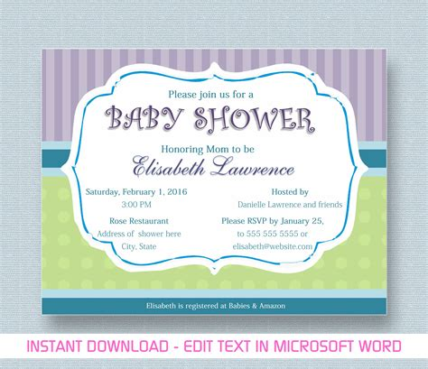 baby shower invitation template word baby shower invitation for microsoft word