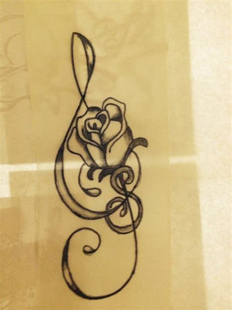 treble clef with rose tattoo treble clef with a me