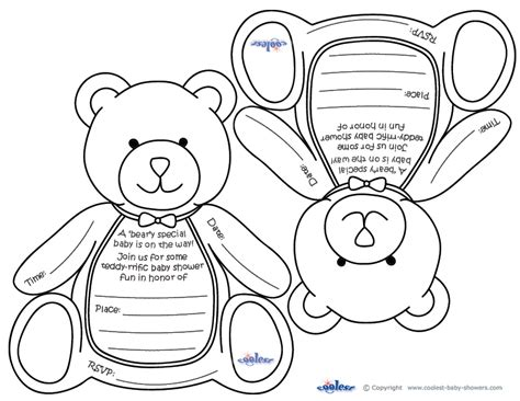 coloring book runtime free printable teddy baby shower invitations