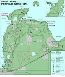 peninsula state park map peninsula state park wi usa