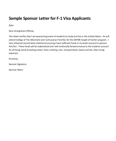 Sponsorship Letter For Non Immigrant Visa Sponsorship Letter Exle 13 Free Word Pdf Psd Documents Free Premium Templates