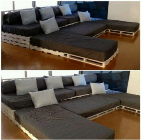 twin bed sectional diy sectional from pallets and twin mattresses home