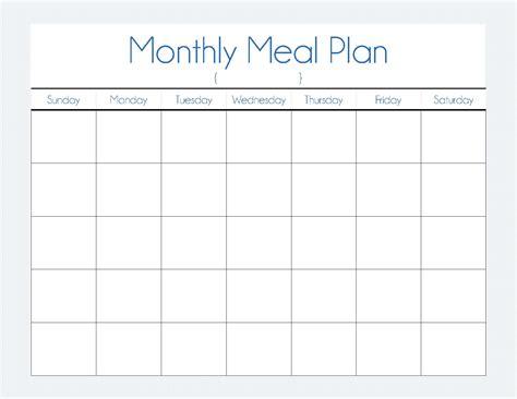 Galerry printable monthly menu plan