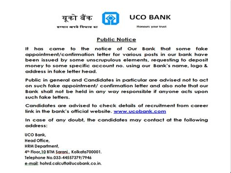 Bank Notification Letter Sle Uco Bank Working With Us