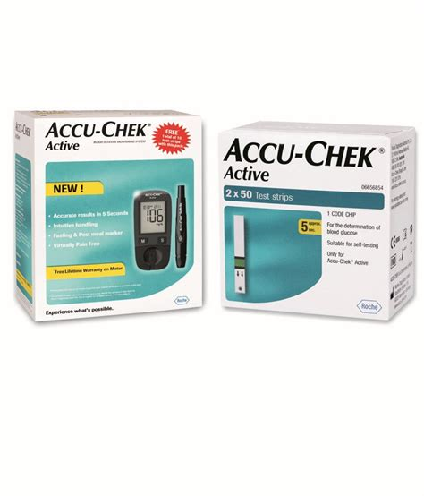 Accuchek Aktif accu chek active blood glucose monitor with 100 test strips combo buy at best price in