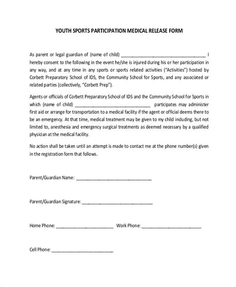 9 Sle Medical Forms Pdf Doc Sle Templates Sports Waiver Template