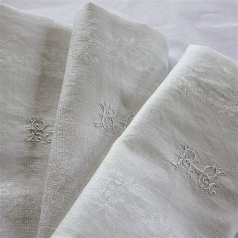 monogrammed linen napkins antique french linen monogrammed napkins r c set of 10