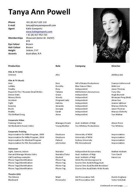 actor cv template sle actor resume best template collection