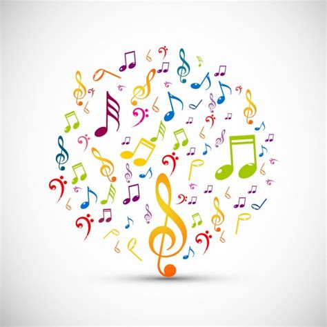 imagenes con motivos musicales circle made with colorful music notes vector free download