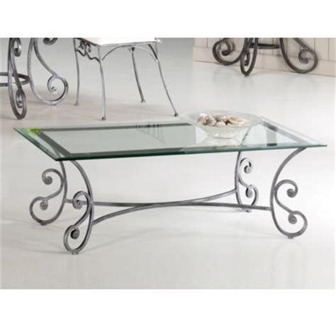 table basse verre et fer forg 233 rectangulaire