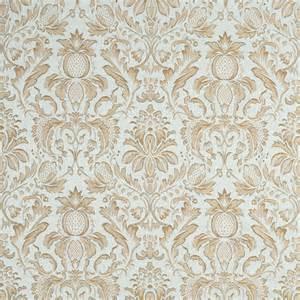 Tapestry Upholstery Fabric Light Blue Ivory Green Gold Pineapple Damask Upholstery