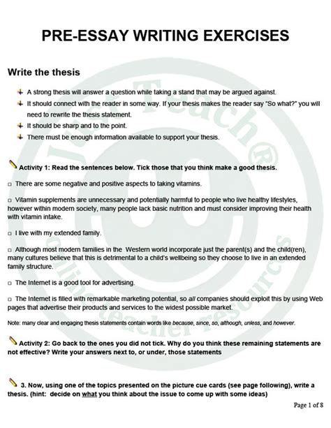 Essay Writing Exercise by 20 Best Images About Resources On Language And Student