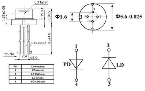 pin configuration of diode single mode laser diode at 980nm
