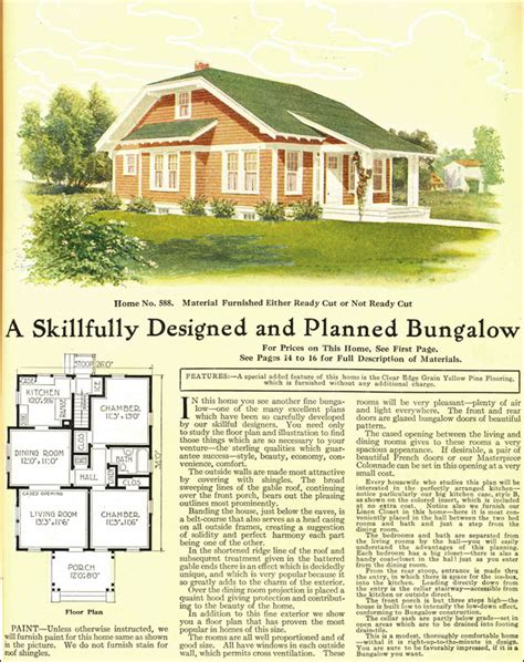 gordon van tine house plans 1918 clipped gable bungalow cottage gordon van tine kit homes model no 588